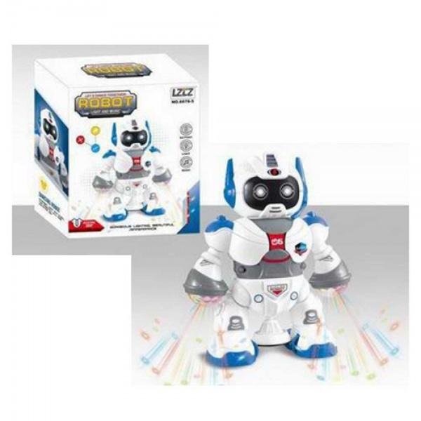 Jucarie interactiva Robotul dansator, cu muzica si lumini, se roteste 360 grade, pentru copii peste 3 ani, alb/albastru