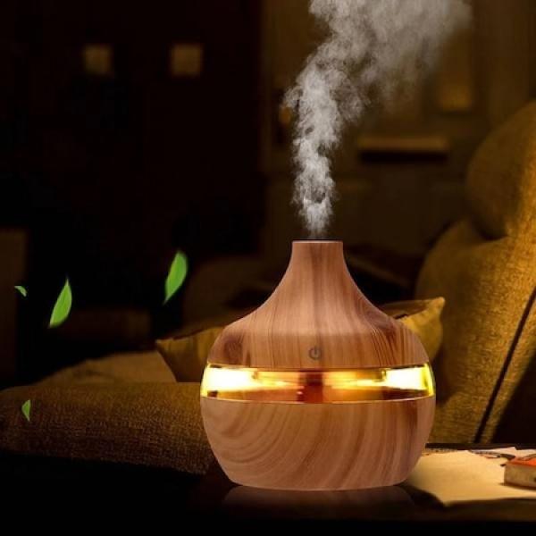 Difuzor aromaterapie cu functie de umidificator, multiple jocuri de lumini LED, 300 ml, alimentare USB