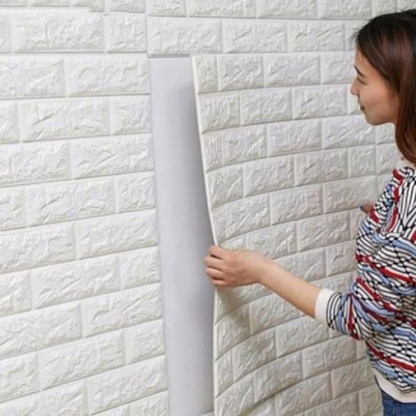 Set 5 bucati tapet 3D caramizi albe, auto-adeziv