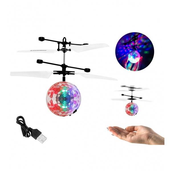 Glob disco zburator, iluminat LED cu ghidaj in functie de miscarile mainii