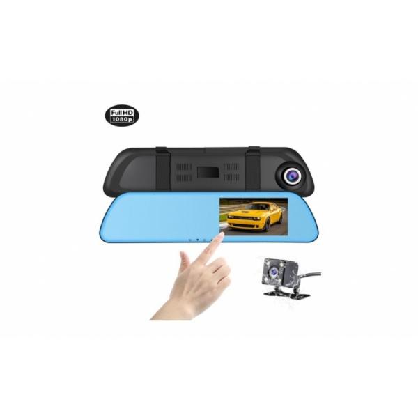 Camera video-auto full-HD dubla tip oglinda, ecran tactil 4.3 inch, camera spate + cabluri incluse, L1001M