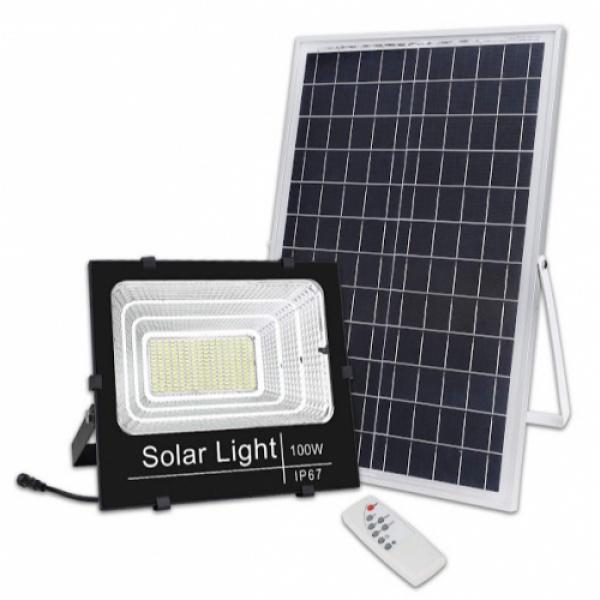Proiector 100W LED SMD, Panou Solar si telecomanda cu functii multiple