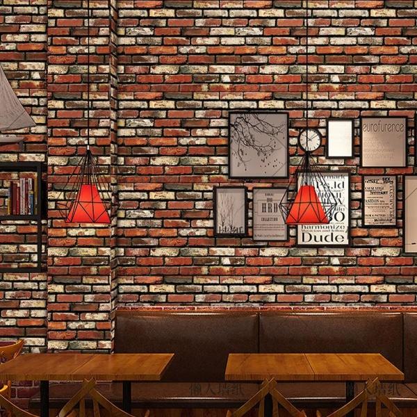 Set 5x Tapet autoadeziv 3D, 77*70 cm caramizi rosii
