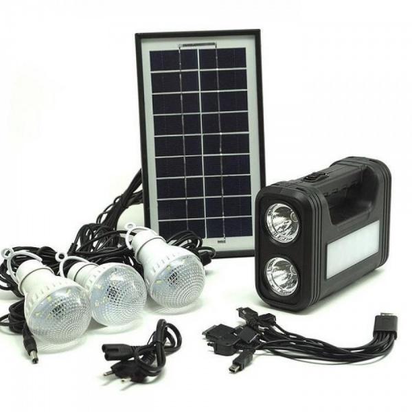 Kit cu panou solar, lanterna, 3 becuri, USB, GDLite GD-8017