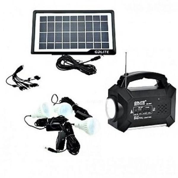 Kit solar GD-8161 cu lanterna LED, radio FM, 3 becuri, panou si USB