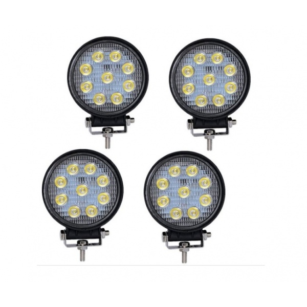 Set 4 proiectoare LED BAR, OFF ROAD, rotund, 9 LED, 27 W, 11 cm