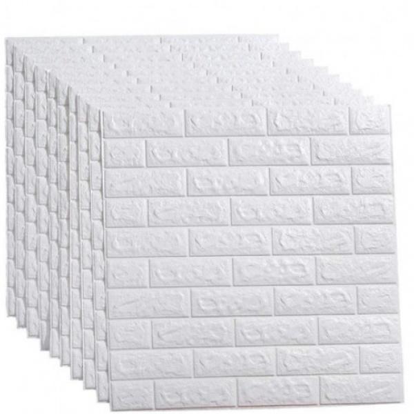 Set 10 x Tapet 3D adeziv caramizi albe, 77x70 cm