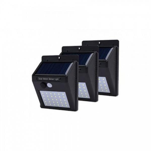 Set 3 x Lampa solara de perete cu senzor miscare 30 LED