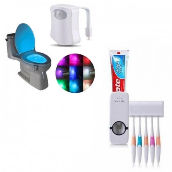 Set baie: Dozator de pasta de dinti+ Suport pentru periute + Lampa led toaleta