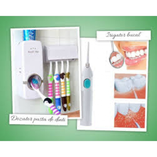 Irigator bucal manual + Dozator pasta de dinti + Suport pentru periute