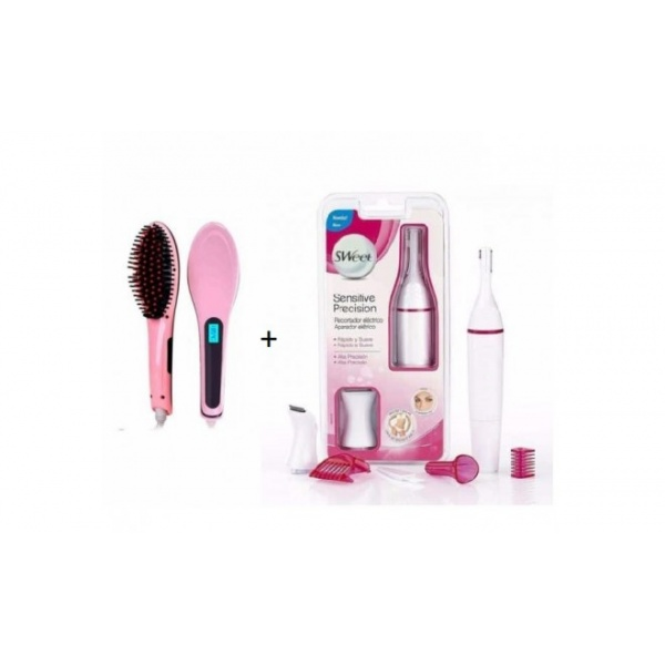 Perie indreptat parul Straight Brush + Trimmer electric Sweet Precision