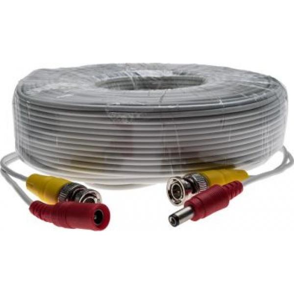 Cablu CCTV 30 metri, semnal video + alimentare 12V, cu conectori, 30m BNC cable