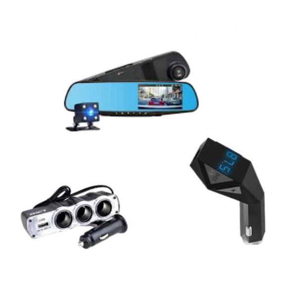 Camera dubla Full HD + Car Kit Bluetooth N8 + Priza tripla USB