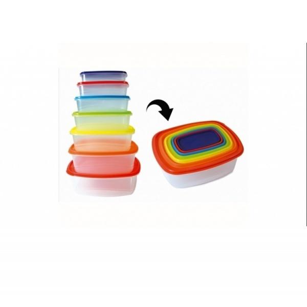 Set 7 caserole cu capace colorate