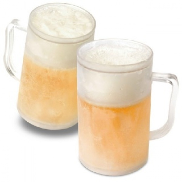 Set 2 x halba de bere cu pereti dubli pentru congelator